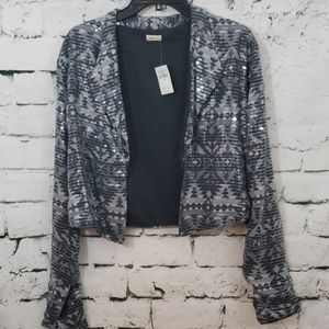 NWT Hollister gray sequin cropped blazer